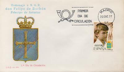 Sobre Primer Día de Circulación del sello de la investidura del príncipe Felipe como Príncipe de Asturias