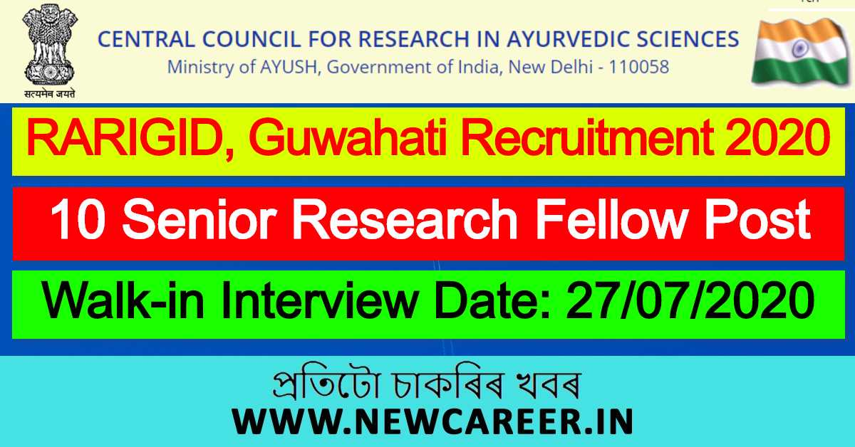 RARIGID-CCRAS, Guwahati Recruitment 2020 : Apply For 10 SRF Jobs In Guwahati