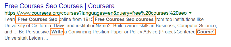 add keywords in meta description