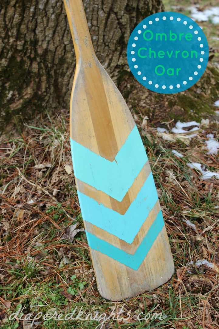 Coastal DIY aqua chevron painted oar