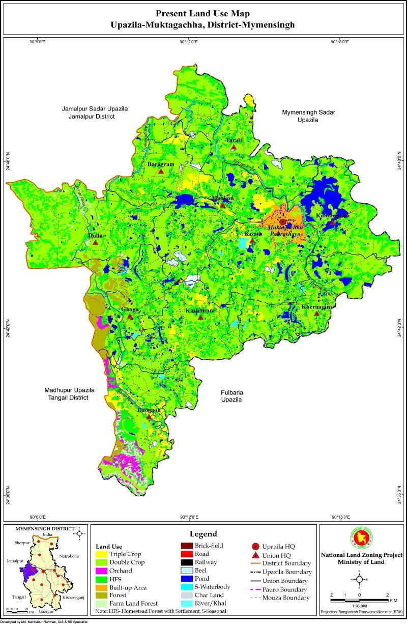 Muktagacha Upazila Mouza Map Mymensingh District Bangladesh