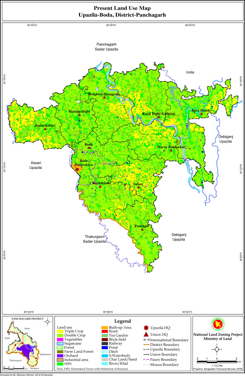 Boda Upazila Mouza Map Panchagarh District Bangladesh