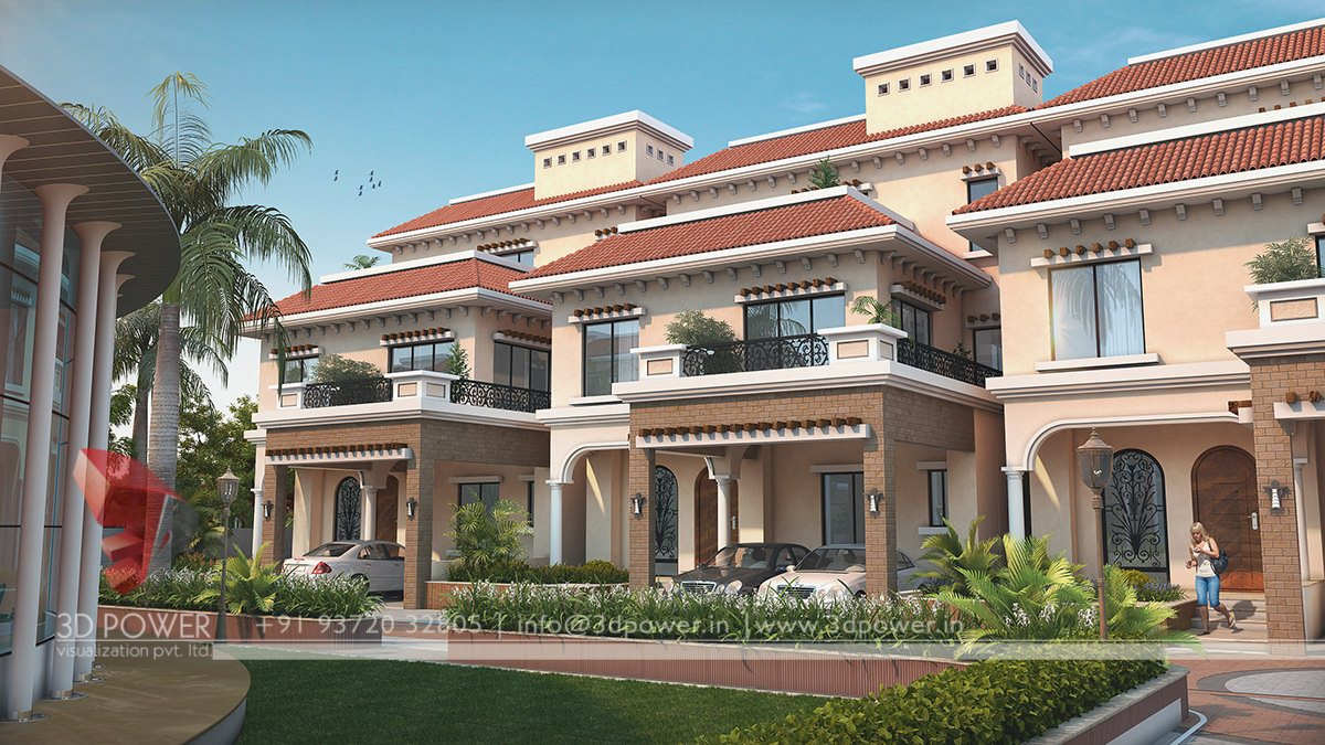 3d animation 3d rendering 3d walkthrough 3d interior for Row house plans india