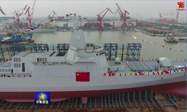 Image Attribute: A still from a China Central Television news clip about the Type 055-class destroyers.