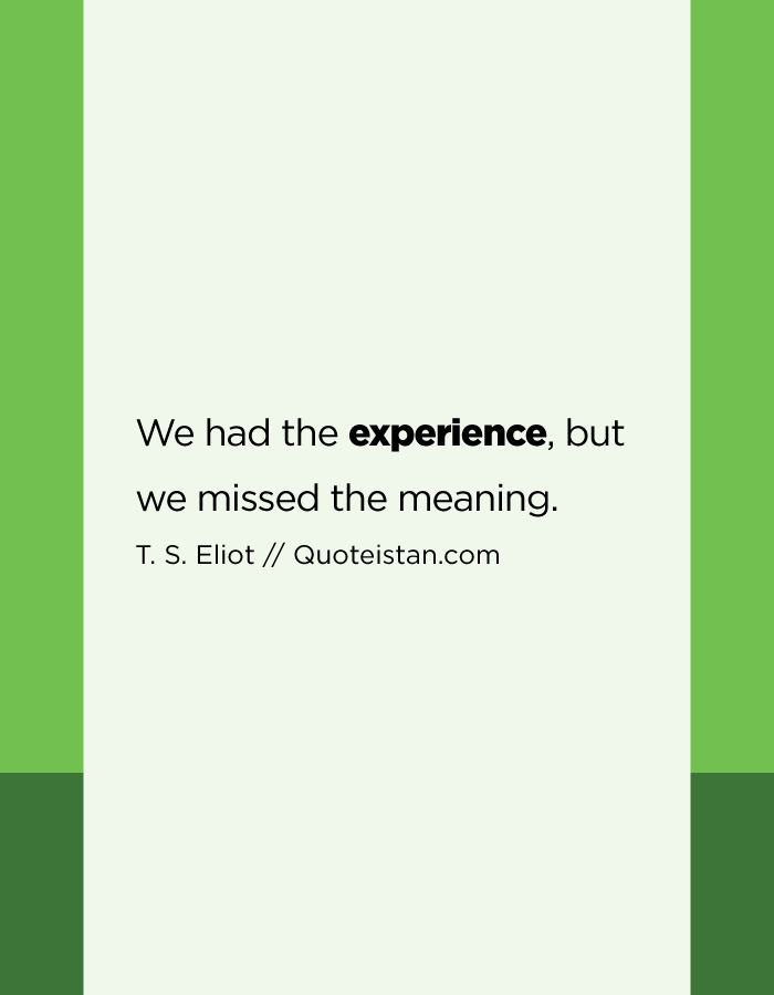 We had the experience, but we missed the meaning.
