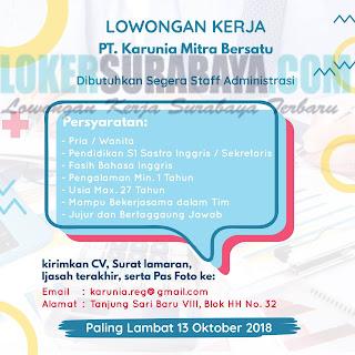 Lowongan Kerja di PT. Karunia Mitra Bersatu Surabaya Oktober 2018