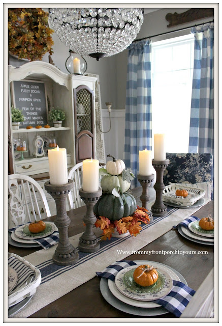 French Country Farmhouse Fall Dining Room-Centerpiece-Pumpkin Topiary-Buffalo Check Curtains-From My Front Porch To Yours