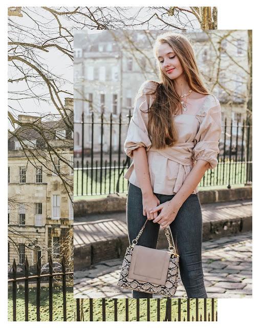 ASOS 2019 spring square neck blouse beige