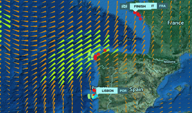 graphic of Volvo Ocean Race, Leg 8 - Lisbon to Lorient, Positions at: 7 June 15:43 UTC
