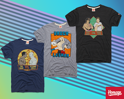 "WWE WrestleMania T-Shirt Collection by HOMAGE - ""The Rock vs Stone Cold"", ""Bret Hart vs Rowdy Roddy Piper"" & ""Brock Lesnar"""