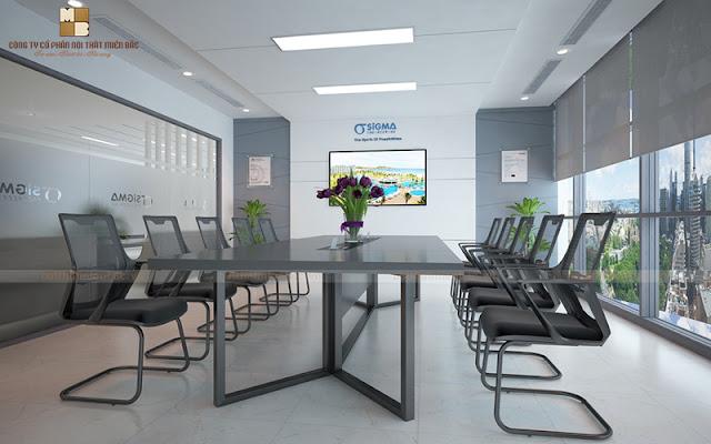 Thiết kế bàn họp nhập khẩu này với chân sắt thanh thoát, tạo sự thông thoáng nhất định cho không gian làm việc