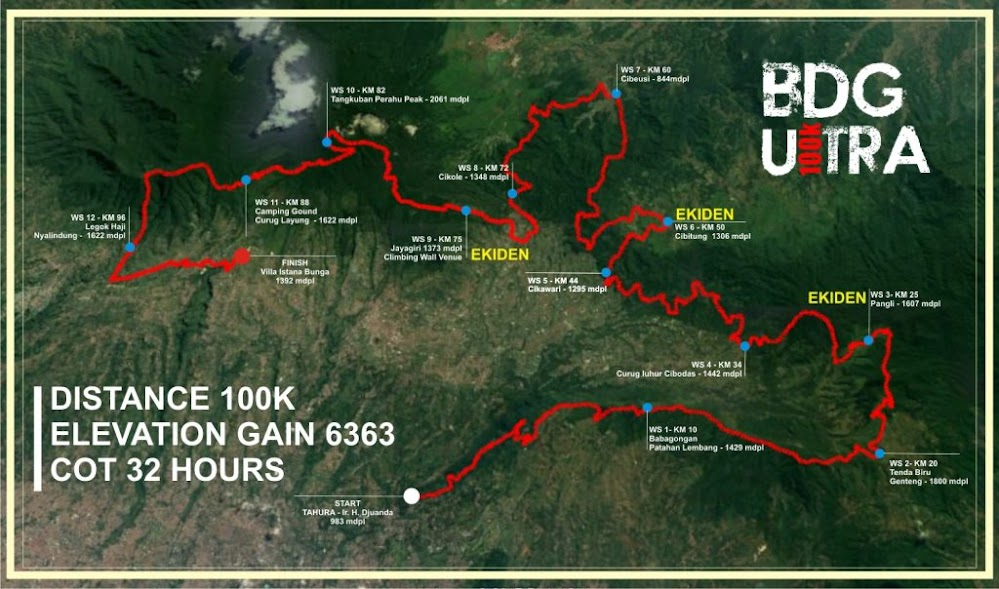 Bandung Ultra 100 100K Route 2018
