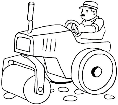Drawing tractor, backhoe and excavator coloring