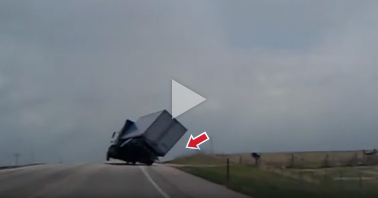 Truck almost loses balance because of strong winds