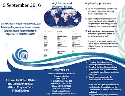 Beasiswa kelautan dari PBB dan Nippon Jepang