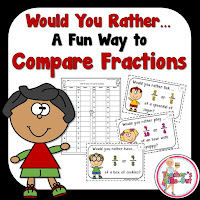 Would You Rather Fractions. Fun Task Cards to Compare Fractions.