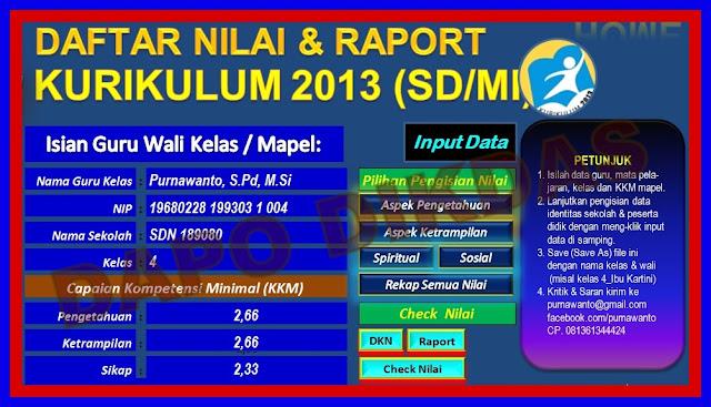 Download Aplikasi Penilaian Kurikulum 2013 Untuk SD Versi Terbaru