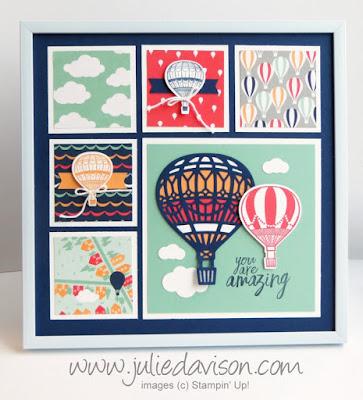 Stampin' Up! Lift Me Up Hot Air Balloons Sampler Frame with Sale-a-bration 2017 Carried Away Designer Paper #stampinup www.juliedavison.com