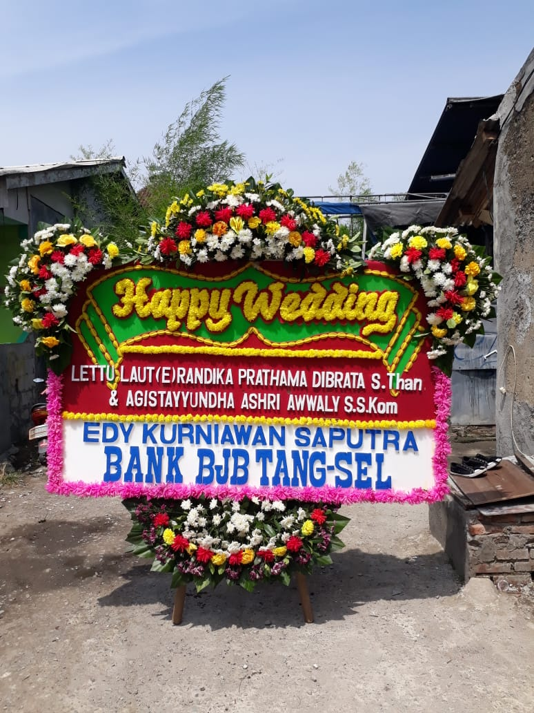 Karangan Bunga Papan Happy Wedding Pernikahan