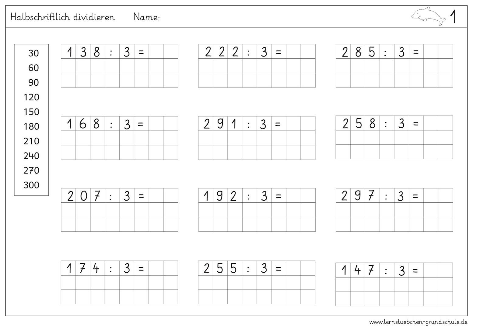 arbeitsblatt vorschule 187 mathe 3 klasse dividieren mit