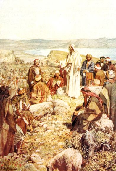 Jesús con sus discípulos y seguidores