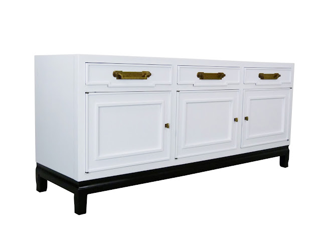 vintage white lacquer blak leg buffet sideboard francher asian-style Img 2