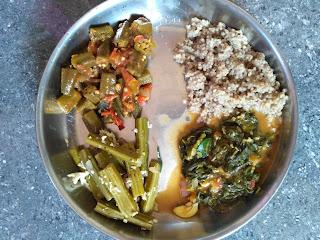 Kodo millet (Varagu) rice, Neer Brahmi greens Sambar,  Ladies finger mandi, Drumstick poriyal