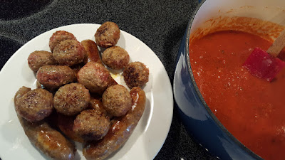 Sausage, Meatballs and Tomato Sauce