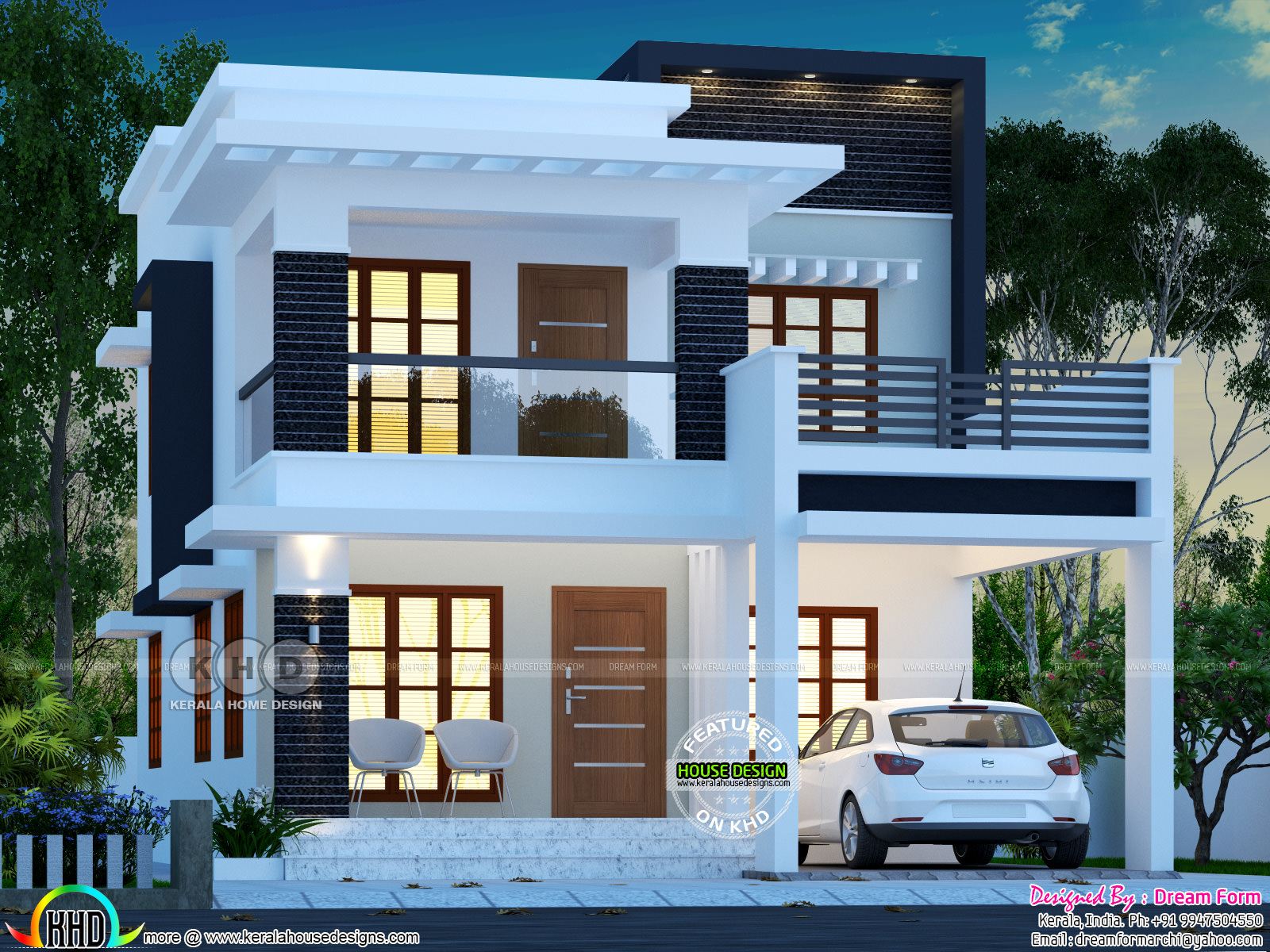 25 lakhs cost estimated double storied home kerala home for Home floor plans with estimated cost to build