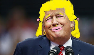 Satire of Trump: picture of Trump with funny wig and lipstick to show that Trump is a whore: possible cover of funny book about Trump