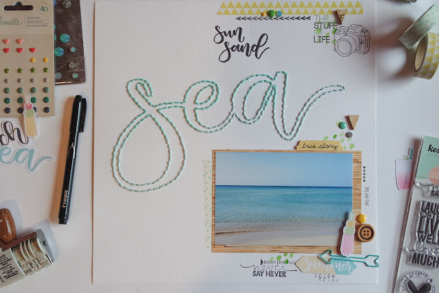 scrapbooking layout | Sun Sand Sea by kushi www.kkushi.com