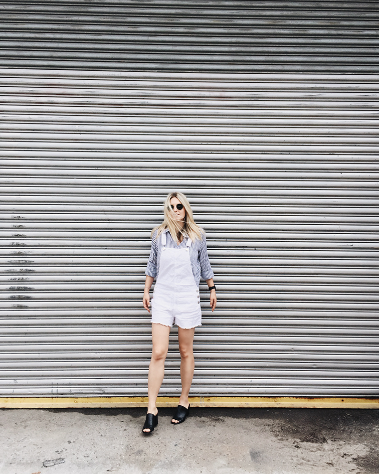 heleneisfor, Cotton On shirt and shortalls, Maryam Nassir Zadeh mules, Brooklyn, Shore Projects watch, Ray-Ban Lennon sunglasses, Hélène Heath, fashion over reason