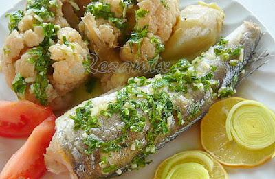 Cooked hake and cauliflower