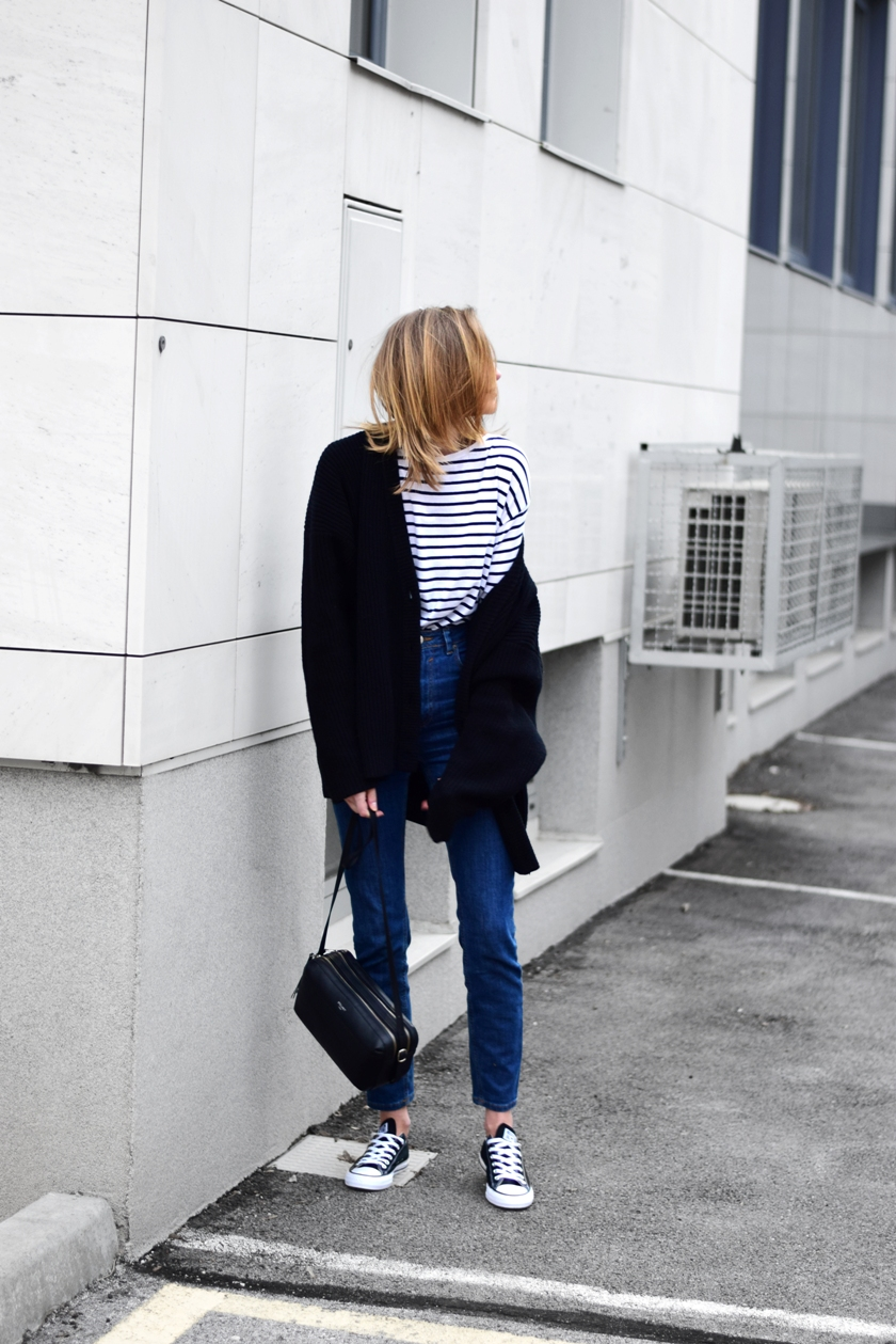 f14ab6c79cba cardigan- H M Trend (similar HERE) · shirt- Zara (similar HERE) sneakers-  Converse (HERE) · jeans- Asos Farleigh (HERE) bag- Steilheit Paris
