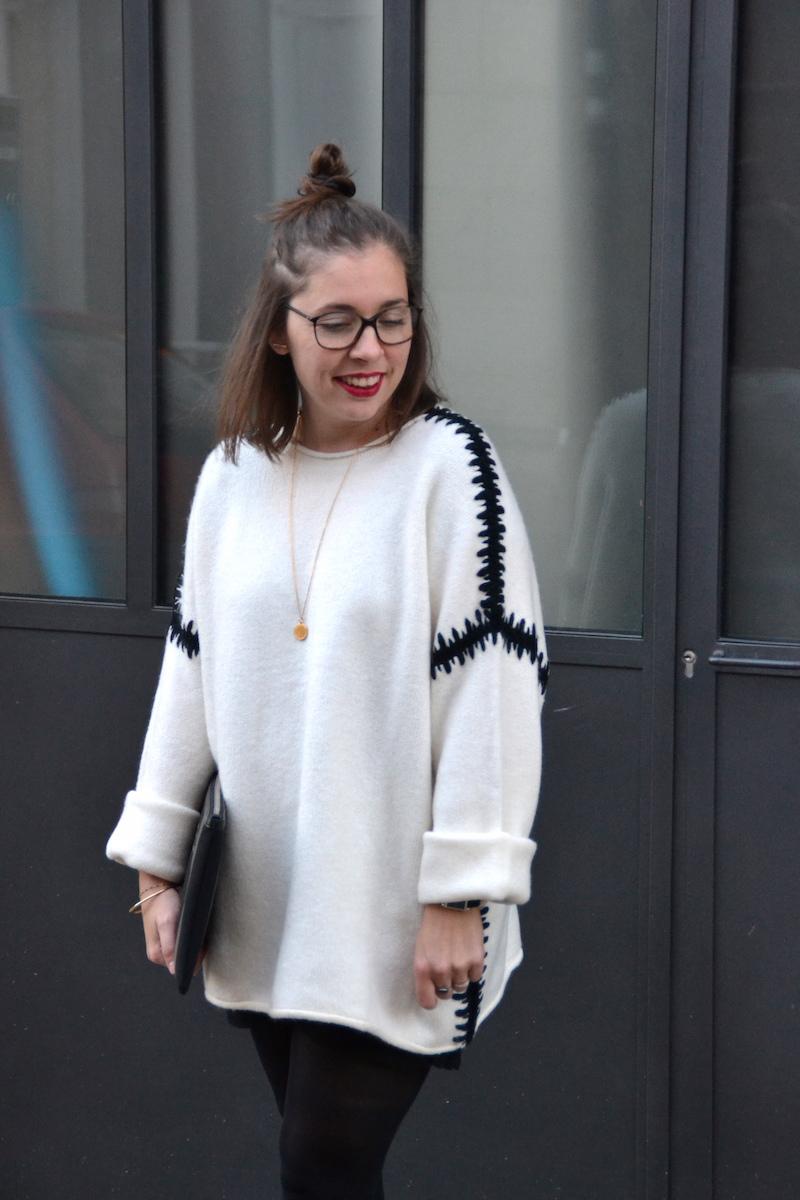 pull blanc zara couture noire, short en jean noir Pimkie