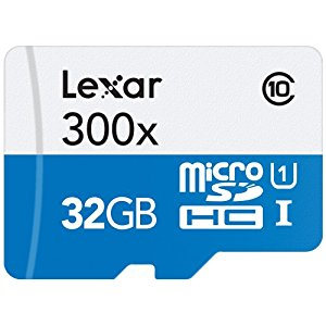 Lexar High-Performance MicroSDHC 300x 32GB UHS-I/U1 w/Adapter Flash Memory Card - LSDMI32GBB1NL300A