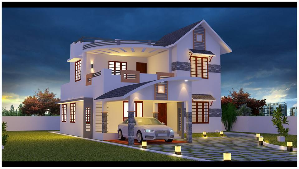 Beautifully designed latest 4 bedroom home in 2000 square - Kerala home designs photos in double floor ...