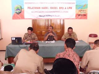 Pelaksanaan Pelatihan Kepala Desa, Sekdes, BPD & LPM