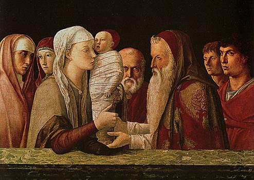 Giovanni Bellini  peintre vénitien, chef de file de la première  renaissance vénitienne: la présentation de Jésus au temple