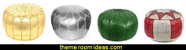 moroccan poufs - Moroccan themed bedroom decorating ideas - Exotic theme decorating