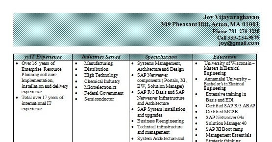 sap basis systems manager sample resume format in word