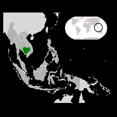 Изображение контуров Камбоджи на карте Мира