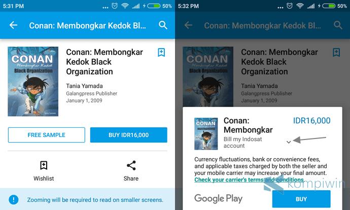 cara membeli aplikasi games buku dengan pulsa android