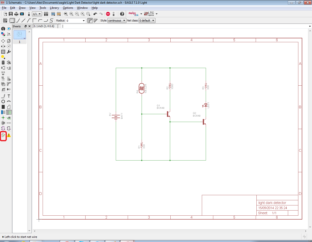 click on the electrical rules check icon on the toolbar on the left side of the schematic editor window  [ 1280 x 992 Pixel ]