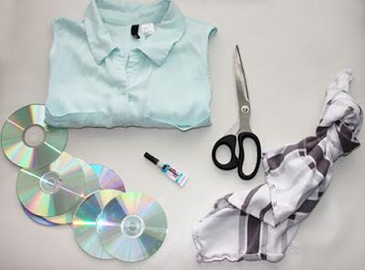 Blusa decorada con Cds reciclados