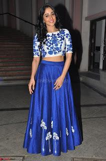 Regina Casandra in Stunning White Embroidery Crop Top Choli and Blue Ghagra at Santosham awards 2017 curtain raiser press meet 02.08.2017