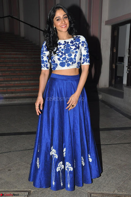 Regina Casandra in Stunning White Embroidery Crop Top Choli and Blue Ghagra at Santosham awards 2017 curtain raiser press meet 02.08.2017 006.JPG
