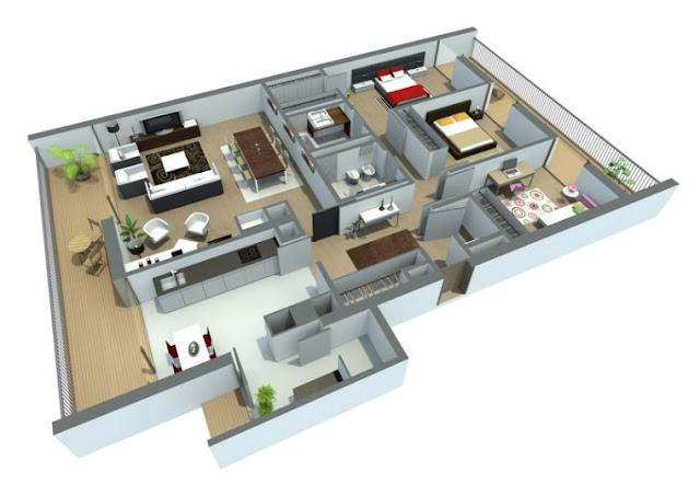 House in large plan 3D