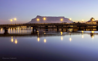 Copyright Vernon Chalmers: Table Mountain  - Over Milnerton Lagoon / Woodbridge Island