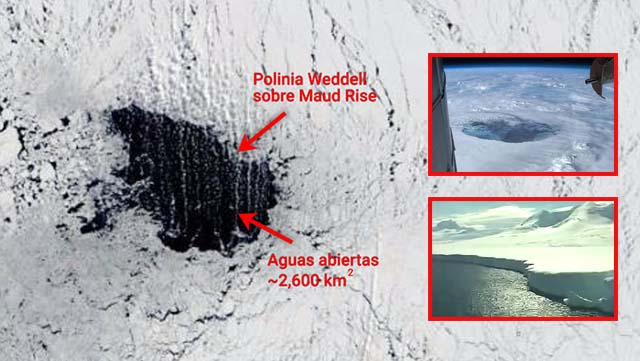 Enorme agujero de cientos de kilometros de ancho se abre sin explicación en la Antártida